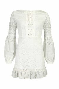 Womens Lace Up Front Balloon Sleeve Mini Dress - white - 12, White