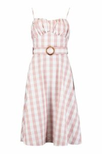 Womens Gingham Belted Midi Skater Dress - pink - 16, Pink