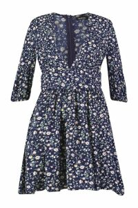 Womens Ditsy Floral Rouched Waist Skater Dress - navy - 10, Navy