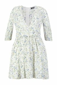 Womens Ditsy Floral Rouched Waist Skater Dress - white - 8, White
