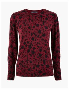 M&S Collection Floral Gathered Shoulder Jumper