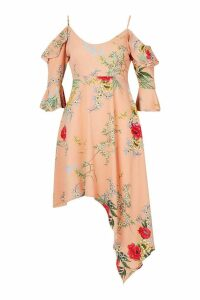 Womens Floral Cold Shoulder Skater Dress - pink - 14, Pink
