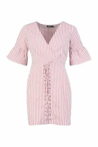 Womens Lace Up Front Striped Mini Dress - pink - 16, Pink
