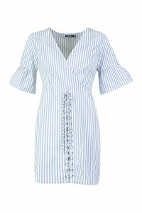 Womens Lace Up Front Striped Mini Dress - blue - 14, Blue