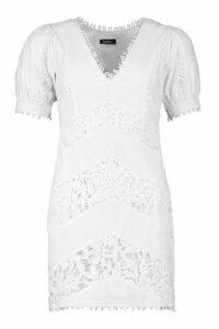 Womens Lace Trim Linen Puff Sleeve Mini Dress - white - 16, White