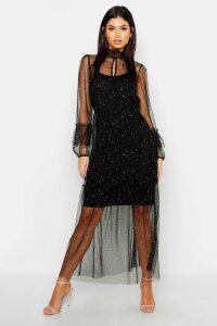 Womens Boho Ditsy Floral Shirring Detail Maxi Dress - black - 8, Black