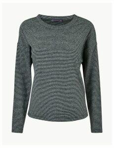 M&S Collection Striped Cosy Crew Neck Sweatshirt