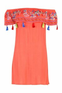 Womens Bohemian Embroidered Off The Shoulder Dress - orange - 14, Orange