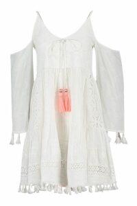 Womens Tassel Trim Broderie Anglais Smock Dress - white - 12, White