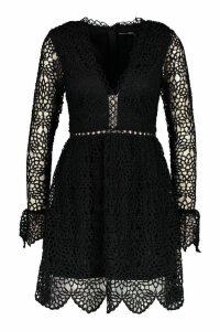 Womens Premium Lace Flared Sleeve Skater Dress - black - 10, Black