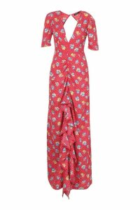 Womens Floral Rouched Front Open Back Maxi Dress - red - 16, Red