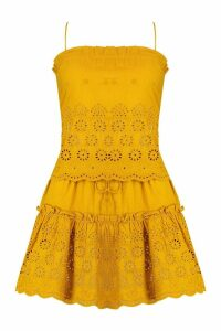 Womens Embroidered Swing Cami Skirt Co-Ord Set - yellow - 14, Yellow