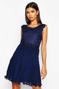 Womens Boutique Corded Lace Pleated Skater Dress - navy - 14, Navy