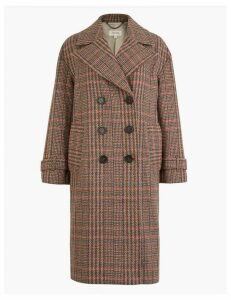 Per Una Wool Blend Checked Double Breasted Coat