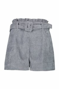 Womens Cord Belted Paperbag Shorts - blue - 16, Blue