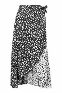 Womens Satin Spliced Cheetah Print Midaxi - black - 16, Black
