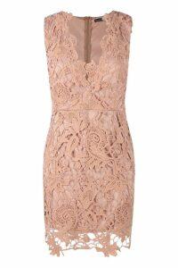 Womens Boutique Lace Scallop Detail Dress - Beige - 14, Beige