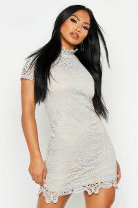 Womens Boutique Crochet Lace Bodycon Dress - grey - 14, Grey