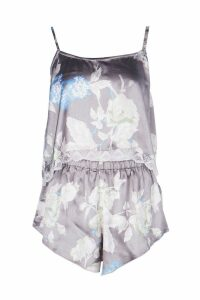 Womens Satin Floral Print Lace Hem Cami & Short Set - grey - S, Grey