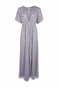 Womens Boutique Sequin Plunge Maxi Dress - grey - 14, Grey