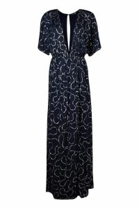 Womens Boutique Sequin Plunge Maxi Dress - navy - 8, Navy