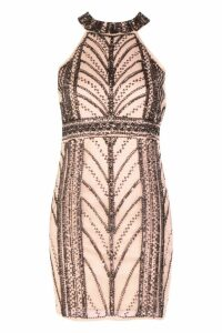 Womens Boutique Embellished Bodycon Dress - pink - 14, Pink