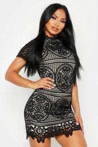 Womens Boutique Crochet Lace Bodycon Dress - black - 8, Black