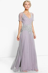 Womens Boutique Beaded Cap Sleeve Maxi Dress - grey - 14, Grey
