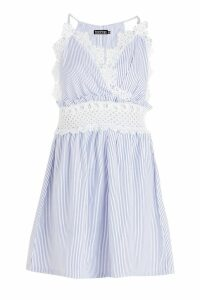 Womens Crochet Insert Striped Smock Dress - blue - 14, Blue