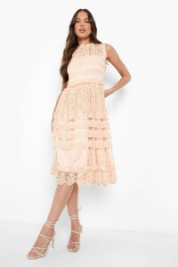 Womens Boutique Lace Midi Skater Dress - pink - 14, Pink