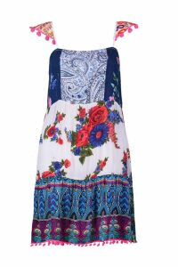 Womens Patchwork Print Pom Pom Smock Dress - white - 10, White