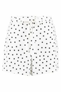 Womens Polka Dot Flippy Tie Belt Shorts - white - 16, White