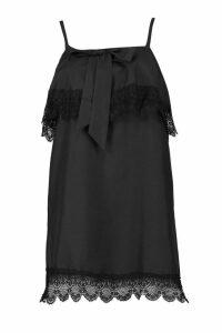 Womens Layered Square Neck Lace Shift Dress - black - 12, Black