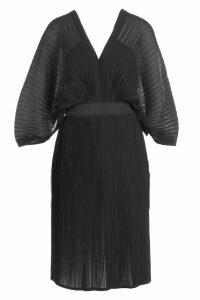 Womens Boutique Pleated Batwing Midi Dress - black - 8, Black