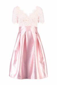 Womens Boutique Eyelash Lace Skater Dress - pink - L, Pink
