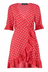 Womens Mixed Polka Dot Wrap Front Tea Dress - red - 16, Red