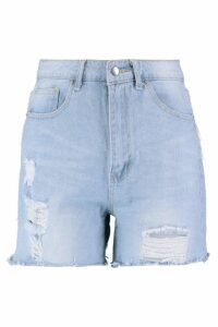 Womens Tinsel Tassel Denim Mom Shorts - Blue - 8, Blue
