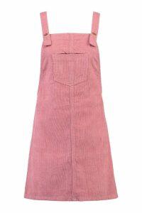 Womens Pocket Front Cord Pinafore Dress - pink - 14, Pink
