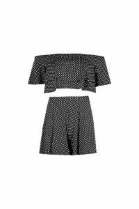 Womens Polka Dot Off Shoulder Crop & Short Co-Ord - black - 10, Black