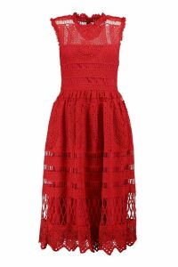 Womens Boutique Lace Midi Skater Dress - red - 12, Red