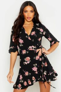 Womens Floral Woven Wrap Front Tea Dress - black - 16, Black
