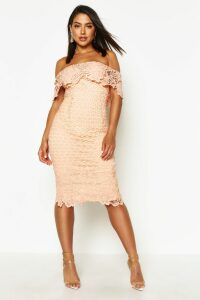 Womens Boutique Lace Off Shoulder Midi Dress - pink - 14, Pink