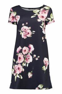 Womens Floral Cap Sleeve Shift Dress - black - 8, Black