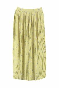 Womens Woven Floral Pleated Midi Skater Skirt - yellow - 6, Yellow