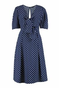 Womens Knot Front Polka Dot Midi Dress - navy - 10, Navy