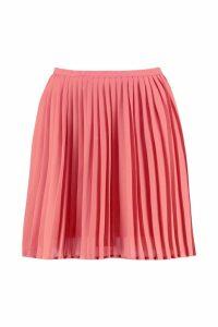 Womens Pleated Woven Mini Skirt - orange - 14, Orange