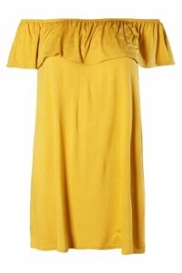 Womens Off The Shoulder Jersey Swing Dress - yellow - 12, Yellow