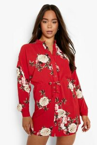 Womens Floral Shirt Dress - red - 16, Red