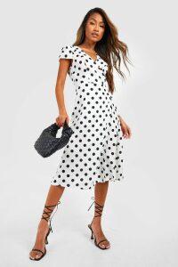 Womens Boutique Polka Dot Wrap Dress - white - 12, White