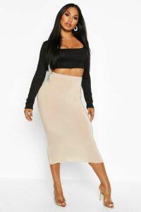 Womens Basic High Waist Slinky Fitted Midaxi Skirt - beige - 14, Beige